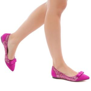 FUSHIA PINK GLITTER VELVET FLATS LOAFERS WITH BOW
